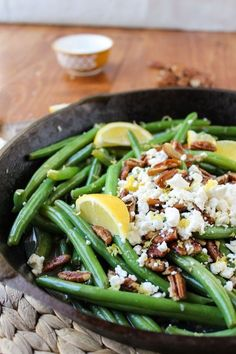 Green Beans with Feta and Pecans. Green Beans with Feta and Pecans - Fried pecans guys. I'm never going back. Side Dish Recipes, Vegetable Recipes, Vegetarian Recipes, Cooking Recipes, Healthy Recipes, Sprout Recipes, Healthy Dishes, Healthy Meals, Clean Eating