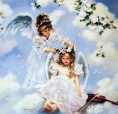 "Little Girl Angels Image Size 14"" x 14"" Open Edition"
