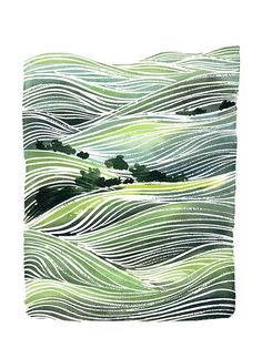 Handmade Watercolor Painting- Landscape Green Hills- 8x10 Wall Art Watercolor Print
