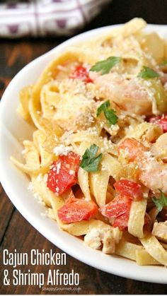 Yummy Pasta Recipes, Cajun Recipes, Shrimp Recipes, Easy Dinner Recipes, Italian Recipes, Chicken Recipes, Cooking Recipes, Healthy Recipes, Seafood Dishes