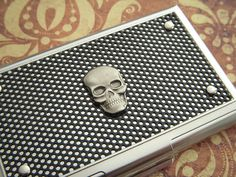 Steampunk Skull Business Card Case Industrial Steampunk Card Case Mens Gifts For Him