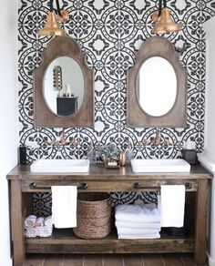 Pattern wall tile, wood and white master bath