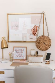 Dusty Rose and Gold Office Tour - Money Can Buy Lipstick Office Decor Home Office Design, Home Office Decor, Home Decor Bedroom, Office Designs, Bedroom Sets, Bedroom Furniture, Furniture Ideas, Work Desk Decor, Gold Bedroom
