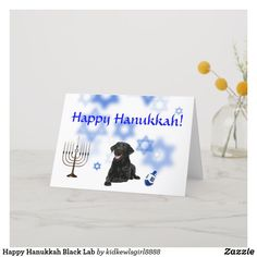 Shop Happy Hanukkah Black Lab Holiday Card created by Personalize it with photos & text or purchase as is! Hanukkah Greeting, Hanukkah Cards, Hanukkah Gifts, Happy Hanukkah, Black Labrador Retriever, Creative Business, Holiday Cards, Create Yourself, Greeting Cards