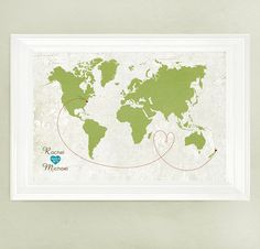 Large - Personalized Wedding Gift or Guest Book Alternative World Map - Vintage Style - Sizes 12x18, 16x20, 18x24, 20x24, 20x30 or 24x36