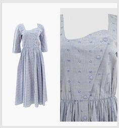 Vintage THIERRY MUGLER 1980s Logo Print Swing Dress  #vintage #thierrymugler #vintagedress