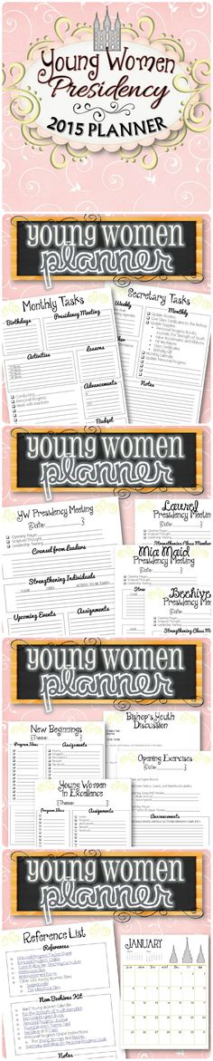 A stylish way to make managing all the responsibilities and tasks in the LDS Young Women's Program simple and easy. Planner Includes (23 Pages) - Monthly Tasks - New Beginnings and Young Women in Excellence Planning Sheets - BYC Agenda Sheet - Opening Exercises Agenda Sheet - YW Presidency Meeting Agenda - Laural, Mia Maid and Beehive Presidency Meeting Agenda - Reference List (with Helpful Reference Links) - 2015 Monthly Calendar - Girls Camp Secret Sister Questionnaire - $2.99 & some freebies!