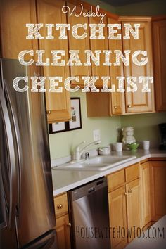 Clean your kitchen better than a maid! This free, printable weekly kitchen cleaning routine gets every surface sparkling clean. So easy to follow your kids can do it!
