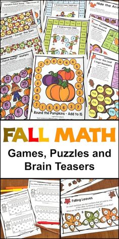 Fall Math Games, Puzzles and Brain Teasers from Games 4 Learning with fall math board games, fall math puzzle sheets and fall math brain teasers.
