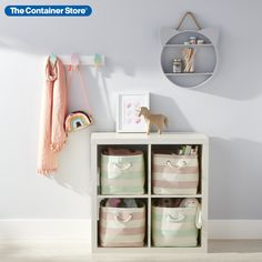 For our Purr-fectly Sweet Hooks & Cubby Storage Solution, we've pulled together essentials to make it easy add a touch of sweet organization to any kid's space. Our Purr-fectly Sweet Hooks & Cubby Storage Solution includes: (1) Cat Shelf, (1) Ice Cream Cone Hook Rack (1) 4-Cube Cubby Shelving (1) Rugby Stripe Cube in Blush & Ivory and (1) Rugby Stripe Cube in Mint & Ivory.