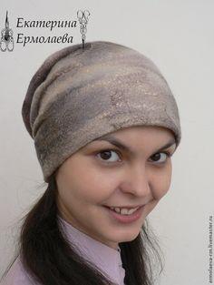 """Валяная шапка с драпировкой """"Галактика"""" - серый,валяная шапка,валяная шляпка"""