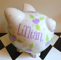 Rose Piggy Bank Size Large in Lavender and Purple by PreppyPiggy