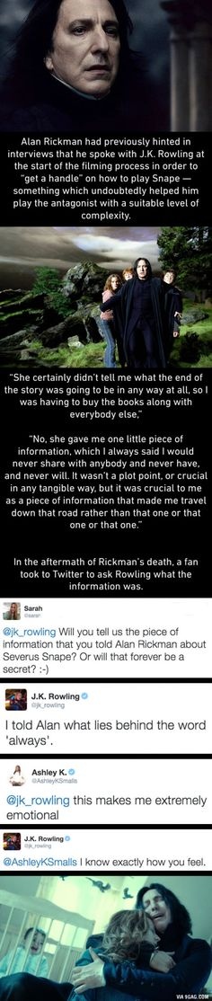 Rowling reveals how she gave Alan Rickman a major clue about Snape& character. Warning: manly tears will be shed. Harry Potter Facts, Harry Potter Love, Harry Potter Universal, Harry Potter Fandom, Harry Potter World, Alan Rickman Severus Snape, Draco Malfoy, Snape Harry, Albus Dumbledore