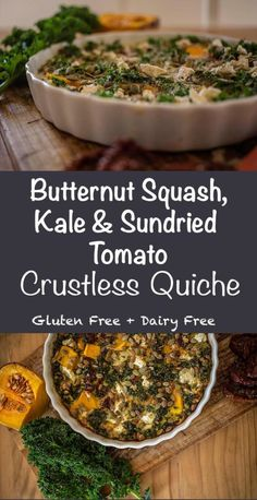 Butternut Squash, Kale & Sundried Tomato Quiche - This tasty and nutritious grain free quiche is so easy to make and is the perfect lunch or light dinner. Paleo Recipes Easy, Gluten Free Recipes, Whole Food Recipes, Vegetarian Recipes, Kale Recipes, Recipies, Paleo Breakfast, Breakfast Recipes, Grain Free