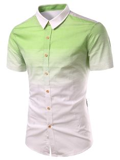 Turn-Down Collar Ombre Stripe Splicing Design Short Sleeve Shirt For Men #hats, #watches, #belts, #fashion, #style