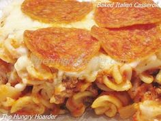 Baked Italian Casserole - The flavors of spaghetti, pizza and lasagna all wrapped up into one simple dish. Serve this with a side salad and a piece of garlic bread for an easy weekday dinner. This is even good leftover for lunch.