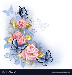 Buy Three Pink Roses by on GraphicRiver. Three pink roses with blue and gold leaves, with blue butterflies sitting on them on white background. Rose Quartz an. Flower Phone Wallpaper, Butterfly Wallpaper, Cute Wallpaper Backgrounds, Blue Butterfly, Logo Floral, Motif Floral, Floral Border, Sweet Logo, Pink Rose Tattoos