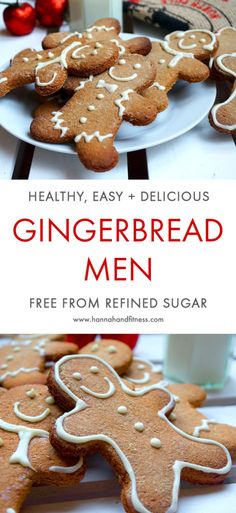 Healthy and easy gingerbread men. A quick, yet delicious festive recipe that will be sure to put your family and friends in the Christmas spirit. A gingerbread recipe free from sugar and relatively low in fat.