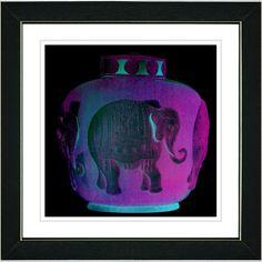 Purple Elephant Urn by Zhee Singer Framed Fine Art Giclee Painting Print