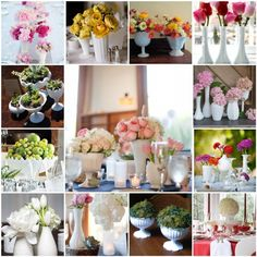 Lots of Pretty arrangements with Milk Glass. Yellow….Pink….And Green flowers