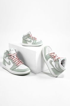"""Jordan Brand closes out its Summer 2021 collection with a final salute to the warm weather season on the breezy Women's Air Jordan 1 High """"Seafoam,"""" which happens to be available in full family sizing. Weather Seasons, Warm Weather, Jordan 3, Jordan 1 Retro High, Sea Foam, Air Jordans, Sneakers, Shopping, Shoes"""