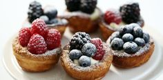 Try these adorable and delectable Berry Tartlets with Cream Cheese Frosting for dessert tonight! http://gustotv.com/recipes/dessert/berry-tartlets-cream-cheese-frosting/
