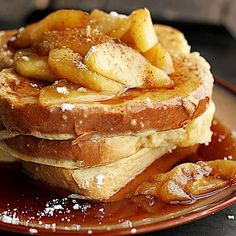 Apple Cinnamon French Toast - Dessert or breakfast? It's hard to tell with this rich and indulgent french toast! The perfect treat anytime of day!
