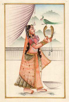 RAJASTHANI-MINIATURE-PAINTING-India-Ethnic-Folk-HANDMADE-Ragamala-Watercolor-Art-190601584194
