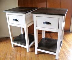 Love the finish and the contrast of light and dark! You can find the Mini Farmhouse Bedside Table Plans at Ana-White.com