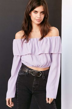 Silence + Noise Cecilia Ruffle Off-The-Shoulder Top