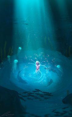 grafika anime, blue, and cave