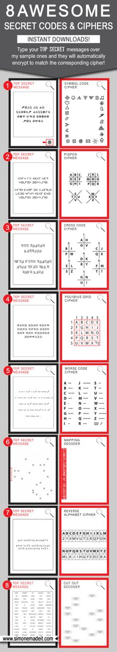 8 Awesome DIY Secret Codes for Kids - Type your own Top Secret message into the template and it will automatically encrypt to match the Cipher! Great as Spy Party games or activities, for playdates or even in the school classroom as code breaking games $6.50 via SIMONEmadeit.com