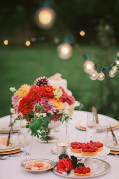 A romantic summers eve with gorgeous floral center pieces