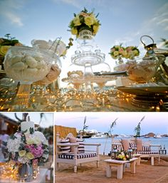 Perfect for this special wedding in Nammos Mykonos, the decoration details gave to this Mykonos Wedding a rich, yet sophisticated and romantic tone. Candy Buffet, Mykonos, Romance, Table Decorations, Luxury, Wedding, Romance Film, Valentines Day Weddings, Romances