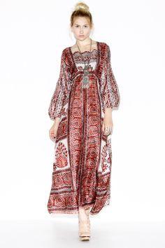 Vintage 70s Silk India Print Maxi Dress http://thriftedandmodern.com/vintage-70s-india-print-silk-maxi-dress