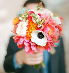 Pink + orange bouquet with anemone accents