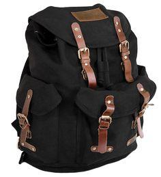 Outback Trading Co. Overlander Satchel Rucksack Black Canvas Backpack