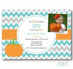 Little Pumpkin Fall Birthday Party Invitation by TrinityStStudio