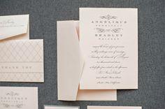 Blush Pink and Gray Accordion Wedding Invitation by LamaWorks