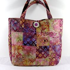 Patchwork Batik Tote Bag in Vibrant Pinks Blues by simplybagsbyklm, $45.00