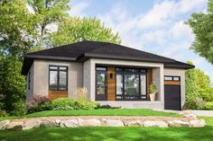 DuProprio invites you to discover your future Bungalow located in Mont-St-Gregoire, rue Marcel-Arbour - Par Habitations Clermont. Small Contemporary House Plans, Contemporary Style Homes, Modern House Plans, Small House Plans, One Storey House, Prairie Style Houses, Open Concept Home, Bungalows For Sale, Bungalow House Design