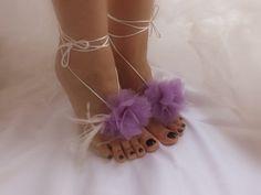 purple Beach wedding barefoot sandals FREE by Theworldofbrides, $25.00
