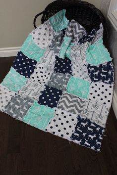 Rag Quilt Baby Rag Quilt Crib Blanket Premier Prints by RozonsRags