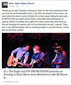 Via Allen Mack Myers Moore: Tickets go on sale Tuesday morning at 10am for the only scheduled show we have for the foreseeable future. Last time we played at this venue we were joined by Aaron Lewis of Staind for a few songs. Being the pre party for BFD16 the next night where Zach's other little band Shinedown is playing there's no telling who might be in town a day early and show up. We are bringing the opener with us from Memphis as well Laramie. They are a very talented group with an…