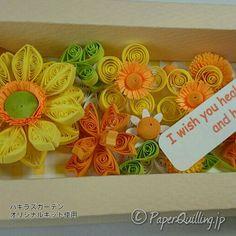 Flowers gift box フラワーギフトBOX(黄) パキラズガーデンオリジナルキット #paperquilling #ペーパークイリング  #quilling  #クイリング