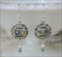 Handcrafted Broken China Jewelry, Lenox Autumn Ornate Circle Earrings