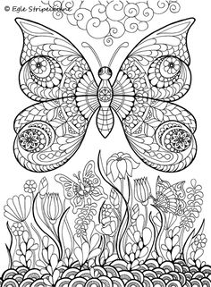 Butterfly coloring page Free Adult Coloring, Adult Coloring Book Pages, Animal Coloring Pages, Coloring Pages To Print, Printable Coloring Pages, Coloring Sheets, Doodle Coloring, Colouring Pics, Mandala Coloring