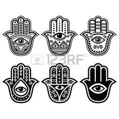 Hamsa mano, mano de Fátima - amuleto, símbolo de la protección del diablo ojo. Foto de archivo - 43420647
