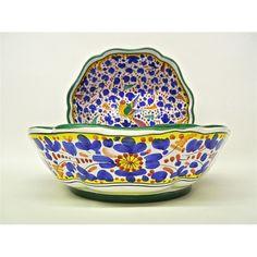 "Deruta Arabesco Multi Blue 12"" Scalloped Serving Bowl"