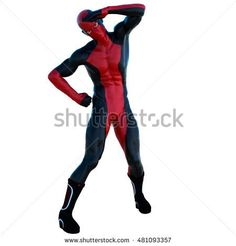 a young strong man in a red and black super suit. It is a funny position. The left-armed salutes. 3D rendering, 3D illustration